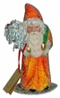 Orange Beaded with Green Bag Santa Paper Mache Candy Container by Ino Schaller