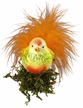 Orange Fluff Bird Ornament by Inge Glas