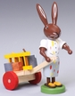 Rabbit Painter with Wagon Wooden Figurine by Thomas Preissler