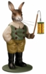 Rabbit with Lantern Paper Mache Figurine by Marolin