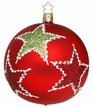 Red Ball with Green Stars Large Ornament by Inge Glas