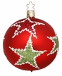 Red Ball with Green Stars Medium Ornament by Inge Glas