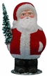 Red Beaded Chubby Santa Paper Mache Candy Container by Ino Schaller