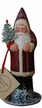 Red Coat Santa with Snow Paper Mache Candy Container by Ino Schaller