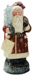 Red Coat with Gold Stars Santa Paper Mache Candy Container by Ino Schaller