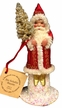 Red Coat with White Trim & Gold Glitter Santa Paper Mache Candy Container by Ino Schaller