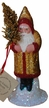 Red Edge, Gold Glitter Santa Paper Mache Candy Container by Ino Schaller