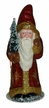 Red Glitter Santa with Gold Bag Paper Mache Candy Container by Ino Schaller