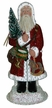 Red Glittered Coat Santa with Rocking Horse Paper Mache Candy Container by Ino Schaller