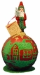 Red & Green Santa sitting on Box Paper Mache Candy Container by Ino Schaller