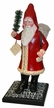 Red Santa with Cream Edged Coat on Wood Base Paper Mache Candy Container by Ino Schaller