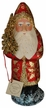 Red, with Gold Leaves Santa Paper Mache Candy Container by Ino Schaller