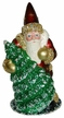 Red with Molded Green Tree & Gold Stars Santa Paper Mache Candy Container by Ino Schaller