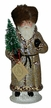 Russian Latte Glitter with Fur Santa Paper Mache Candy Container by Ino Schaller