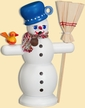 Snowman with Blue Hat Smoker by Seiffener Volkskunst eG