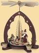 Santa Giving out Presents with Wood Shaved Tree, 1-Tier, Natural Pyramid by Kleinkunst aus dem Erzgebirge M�ller GmbH