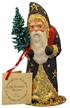Santa in Black Coat with Gold Decor Paper Mache Candy Container by Ino Schaller