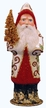 Santa in Champagne coat with Red Trim Paper Mache Candy Container by Ino Schaller