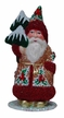 Santa in Copper Glittered Coat with Red Beaded Trim Paper Mache Candy Container by Ino Schaller