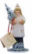 Santa in Cream Coat with Gold Stars Paper Mache Candy Container by Ino Schaller