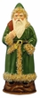 Santa in Green Coat with Cream Edge Paper Mache Candy Container by Ino Schaller