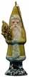 Santa in Olive Green Coat with Gold Tree Paper Mache Ornament by Ino Schaller
