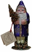 Santa in Purple Coat with Gold Snowflakes Paper Mache Candy Container by Ino Schaller
