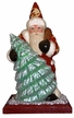 Santa in Red Coat with Molded Tree on Wood Base Paper Mache Candy Container by Ino Schaller