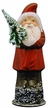 Santa in Red Coat with Tree Paper Mache Candy Container by Ino Schaller