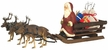 Santa on Sleigh with Three Reindeer  Paper Mache Figurine by Marolin