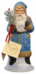Santa with Blue Frosted Coat & Brown Bag Paper Mache Candy Container by Ino Schaller