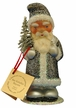 Santa with Metal Gray Glitter Coat & Silver Bag Paper Mache Candy Container by Ino Schaller