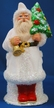 Santa with White Coat, Red Boots, Gold Bell & Tree Paper Mache Candy Container by Ino Schaller