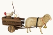 Sheep and Cart  Paper Mache Figurine by Marolin