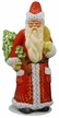 Shiny Red Santa with Gold Decor & Molded Tree Paper Mache Candy Container by Ino Schaller