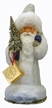 Silver Glittered Santa with Fur Paper Mache Candy Container by Ino Schaller