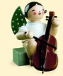 Sitting Angel with Cello Wooden Figurine by Wendt and Kuhn