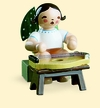 Sitting Angel with Zither Wooden Figurine by Wendt and Kuhn