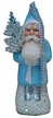 Small Santa in Light Blue Coat on Beaded Base Paper Mache Ornament by Ino Schaller