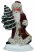 Small Santa with Red Coat & Molded Tree Paper Mache Figurine by Ino Schaller