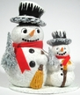 Snowman Family Paper Mache Candy Container