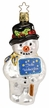 Snowman's Greeting, Frohe Weihnachten Ornament by Inge Glas