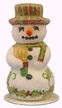 Snowman with Holly Leaf Decor Paper Mache Candy Container by Ino Schaller