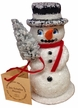 Snowman with Red Scarf Paper Mache Candy Container by Ino Schaller
