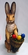 Standing Rabbit with Hand Basket  Paper Mache Candy Container by Marolin