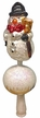 T3007Snowman Tree Topper with Hat & Broom by Glas-Bartholmes