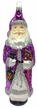 Tall Purple Santa with Lantern and Teddy Ornament by Hausd�rfer Glas Manufaktur