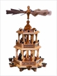 Two-Tier Natural Nativity Pyramid with Bavarian Fence by Franz Karl