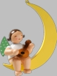 Angel with Mandolin on Moon, Hanging Wooden Ornament by Wendt and Kuhn