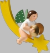 Angel with Cymbals on Comet Hanging Wooden Ornament by Wendt and Kuhn